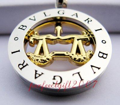 Libra Horoscope Zodiac Steel Necklace Pendant