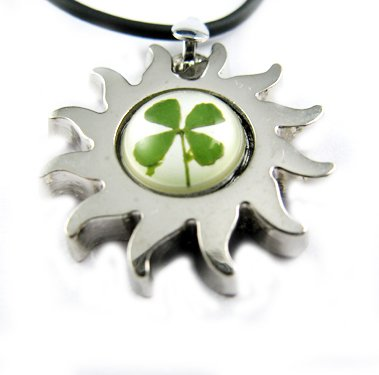 Real Four 4 Leaf Clover Necklace Pendant Sun With Strap