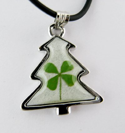 Real Four 4 Leaf Clover Christmas Tree Necklace Pendant