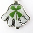 Real Four 4 Leaf Clover Charm Necklace Pendant Hand