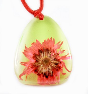 Amber Real Charm Flower Necklace Pendant NO.4