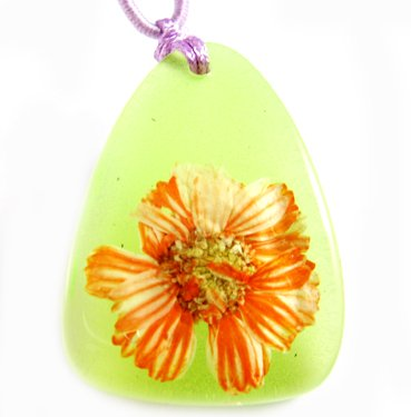Amber Real Charm Flower Necklace Pendant NO.11