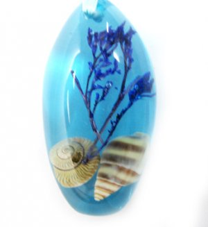 Amber Real Seashell Necklace Pendant Bead Multi-color NO.7