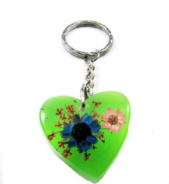 Green Heart Shape Amber Real Flower Key Chain Keyring NO.4
