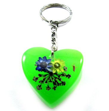 Green Heart Shape Amber Real Flower Key Chain Keyring NO.5