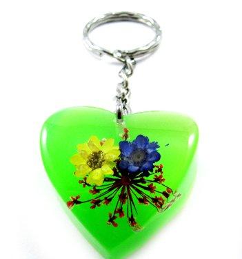 Green Heart Shape Amber Real Flower Key Chain Keyring NO.7