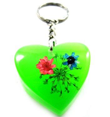 Green Heart Shape Amber Real Flower Key Chain Keyring NO.8