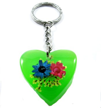 Green Heart Shape Amber Real Flower Key Chain Keyring NO.9