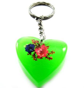 Green Heart Shape Amber Real Flower Key Chain Keyring NO.11