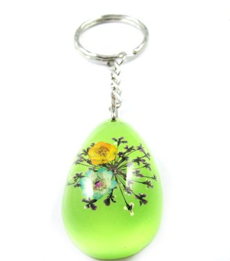 Green Oval Shape Amber Real Flower Key Chain Keyring NO.1