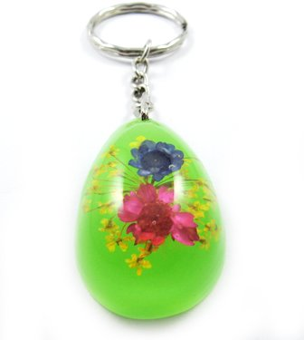 Green Oval Shape Amber Real Flower Key Chain Keyring NO.2