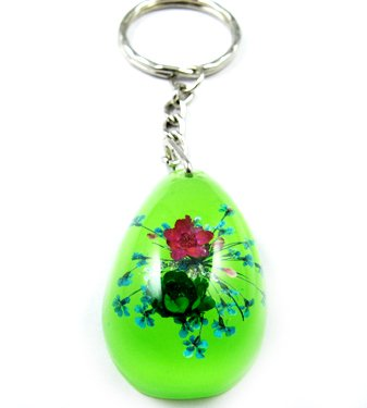 Green Oval Shape Amber Real Flower Key Chain Keyring NO.8