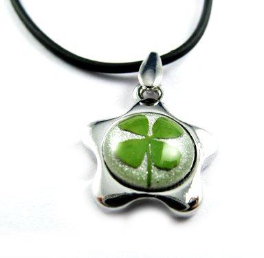 Real Four 4 Leaf Clover Charm Necklace Pendant Five-petaled Flowers