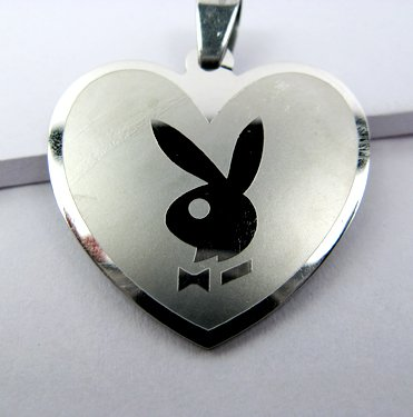 Stainless Steel Heart Shaped Necklace Pendant Bunny Playboy
