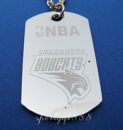 Stainless Steel NBA Dog Tag Necklace Charlotte Bobcats
