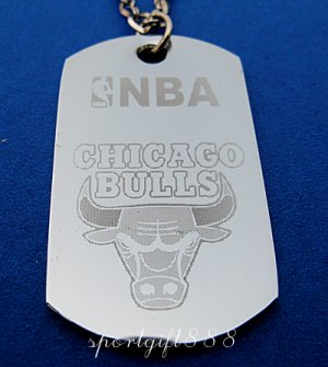 Stainless Steel NBA Dog Tag Necklace Chicago Bulls New
