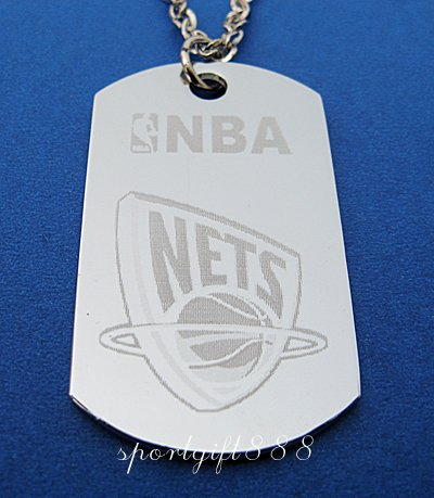 Stainless Steel NBA Dog Tag Necklace New Jersey Nets