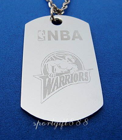 Stainless Steel NBA Dog Tag Necklace Warriors New