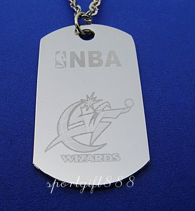 Stainless Steel NBA Dog Tag Necklace Washington Wizards