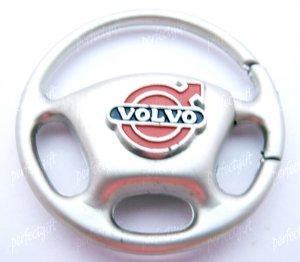 Steering Wheel Car Chrome Keyring Key Chain New Volvo