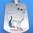 Aries Stainless Steel Horoscope Zodiac Necklace Pendant Dog Tag 2-Piece