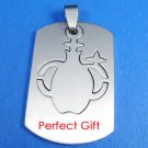 Aquarius Stainless Steel Horoscope Zodiac Pendant Dog Tag 2-Piece