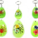 Wholesale Lot 6 Oval Shape Amber Real Flower Key Chain Keyring