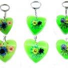 Wholesale Lot 6 Heart Shape Amber Real Flower Key Chain Keyring