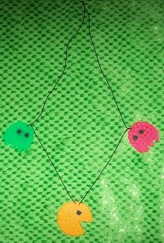 Pac man necklace with 2 ghosts