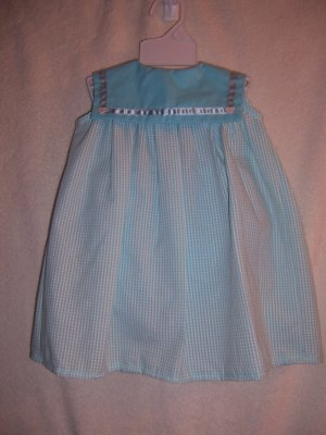 Light blue and white sundress, hat and panties size 6-9 mo.