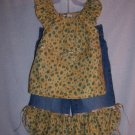 Yellow  top and capri jeans gold ties size 4