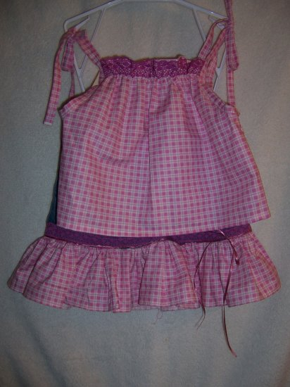 Pink and white plaid top and skirt size 4