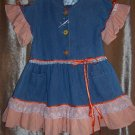 Orange and white ruffled dress, baseball cap size 5