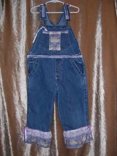Purple ruffled overalls and baseball cap size 5