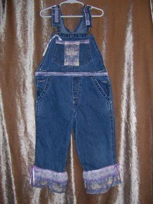 Purple ruffled overalls and baseball cap size 5