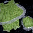 Lime green ruffled 3- peice set  size 0-6 mos.