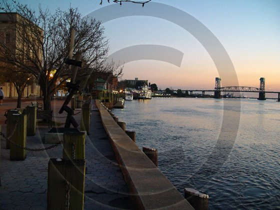 Cold December River - Historic Downtown Wilmington - 2034 - 11x17 Framed Photo