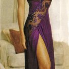 Long Nylon Gown with Side-Slit & Lace Trim