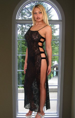 Long stretch lace gown with side-slit (Can be worn as single shoulder strap garment.