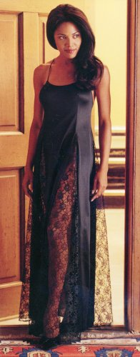 Long Gown with Contrast Lace Panels.