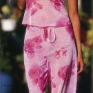 Floral Stretch Mesh Camisole with Matching Long Pajama Pants. Lettuce Edge Treatment.