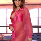 Sheer Striped Shirt with Panty, Button front