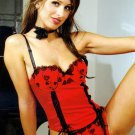 Embroidered Bustier with Matching Thong. Beaded Ribbon trim.