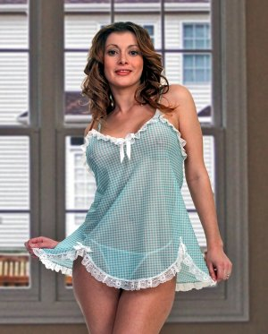 Print Gingham-Check Stretch Mesh Baby-Doll. Ruffled Lace Trim. Matching Thong.