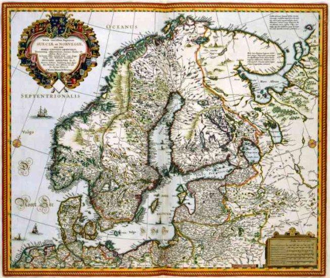 1656 Visscher Map of Norway Sweden, Finland--Reproduction