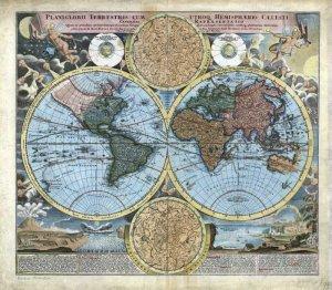 1716 Baptist Homann World Map�Reproduction