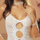 2 Piece Mesh Keyhole Chemise Set with Pearl G-String