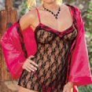 3 Piece Lace Babydoll Set with Satin Robe
