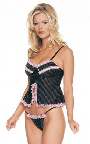 2 Piece Ruffled Pinstripe Babydoll with Matching Full Back Panty