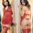 2 Piece Open Back Babydoll with Rhinstone Clip & Satin Bow G-String